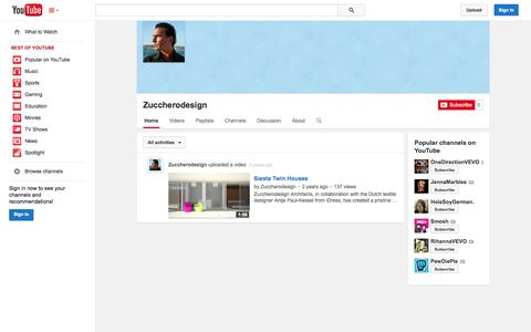 Screenshot of YouTube Page youtube.com - Zuccherodesign  - YouTube - captured Oct. 25, 2014