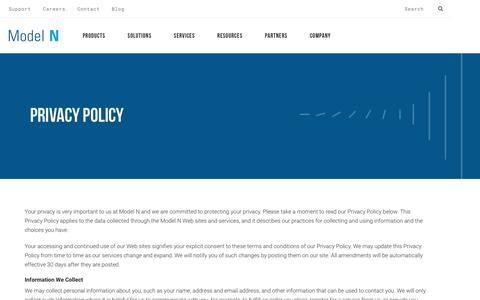 Screenshot of Privacy Page modeln.com - Privacy Policy - Model N - captured April 19, 2017