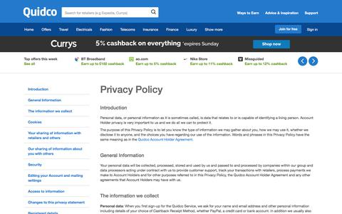 Screenshot of Privacy Page quidco.com - Quidco - The UK's #1 Cashback Site - captured Dec. 10, 2017