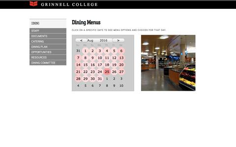 Screenshot of Menu Page grinnell.edu - Dining Menus::Grinnell College - captured Aug. 25, 2016