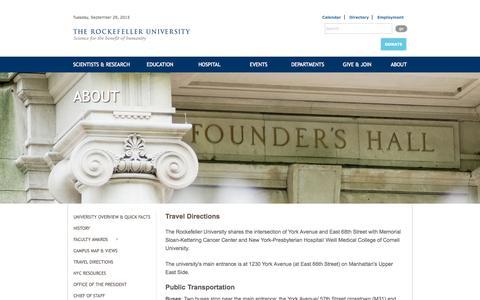Screenshot of Maps & Directions Page rockefeller.edu - The Rockefeller Univeristy » Travel Directions - captured Sept. 29, 2015