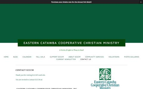 Screenshot of Contact Page ecccm.org - Contact Us — Eastern Catawba Cooperative Christian Ministry - captured Oct. 1, 2014