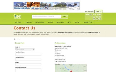 Screenshot of Contact Page alanrogers.com - Contact Alan Rogers | Camping & Caravan Holidays Europe & UK - captured Sept. 19, 2014