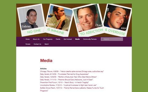 Screenshot of Press Page wordpress.com - Media | Live4Lali.org | Drug and addiction awareness, education and advocacy - captured Nov. 2, 2014