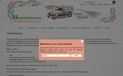 Screenshot of Privacy Page hammelmans.com - Privacy Policy - captured Sept. 27, 2018
