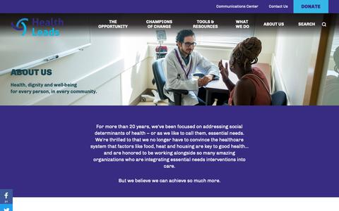Screenshot of About Page healthleadsusa.org - About Us — Health Leads - captured Nov. 10, 2018