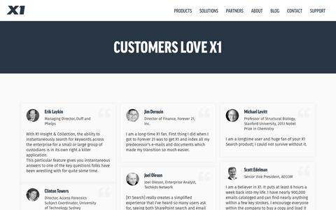 Screenshot of Testimonials Page x1.com - Customers Love X1 - captured Nov. 3, 2018