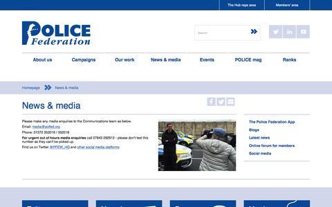 Screenshot of Press Page polfed.org - Police Federation - News Room - captured Nov. 8, 2016