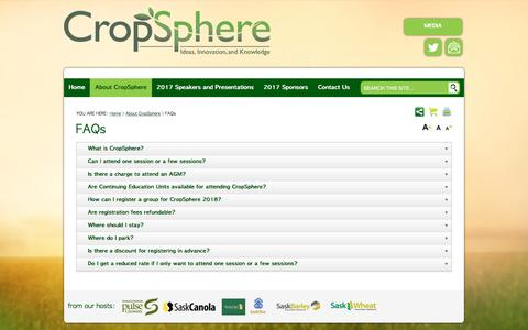 Screenshot of FAQ Page cropsphere.com - Answers to questions about CropSphere - captured Jan. 28, 2017