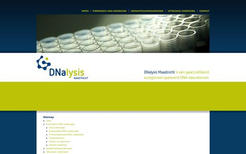 Screenshot of Site Map Page dna-maastricht.nl - Sitemap | DNalysis Maastricht - captured Oct. 5, 2014
