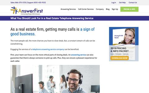 Screenshot of Signup Page answerfirst.com - The Best Real Estate Telephone Answering Service Guide | AnswerFirst - captured June 7, 2019
