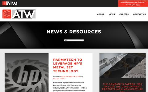 Screenshot of Press Page atwcompanies.com - News & Resources – ATW Companies - captured Nov. 6, 2018