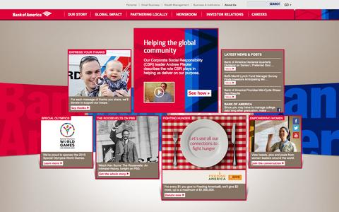 Screenshot of About Page bankofamerica.com - About Bank of America - Service, Commitment & Philanthropy - captured Sept. 19, 2014