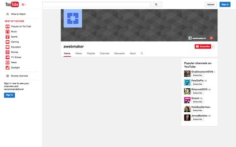 Screenshot of YouTube Page youtube.com - awebmaker  - YouTube - captured Oct. 23, 2014