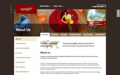 Screenshot of About Page escapio.com - Escapio Corporate Blog | Einzigartige Hotels - captured Sept. 16, 2014