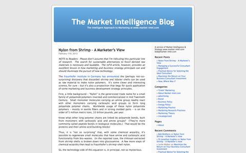 Screenshot of Blog market-intel.com - The Market Intelligence Blog - captured Oct. 27, 2014