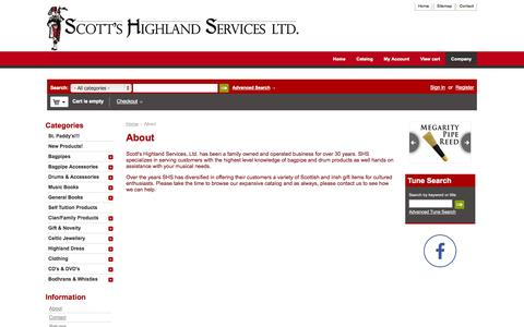 Screenshot of About Page scottshighland.com - About - Scotts Highland Services Ltd. Scottish Clan and Irish Celtic family gift items - captured Oct. 27, 2014