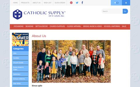 Screenshot of About Page catholicsupply.com - About Us - captured Sept. 6, 2016