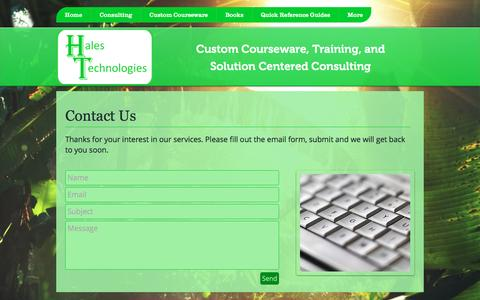 Screenshot of Contact Page halestechnologies.com - halestech | Contact Us - captured Oct. 18, 2016