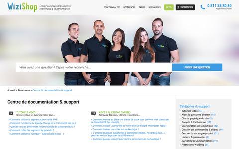 Screenshot of Support Page wizishop.com - Centre de documentation / Support WiziShop - captured Sept. 17, 2014