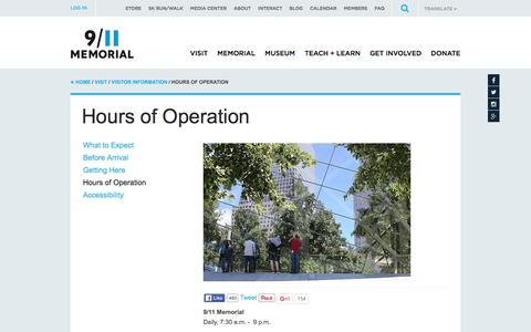 Screenshot of Hours Page 911memorial.org - Hours of Operation | National September 11 Memorial & Museum - captured Jan. 18, 2016