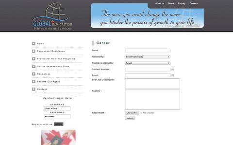 Screenshot of Jobs Page global-imm.ca - Global Immigration & Investment Services - captured Oct. 2, 2014