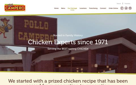 Screenshot of About Page campero.com - Our Heritage - Pollo Campero - captured March 21, 2018