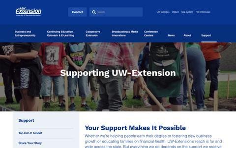 Screenshot of Support Page uwex.edu - Support | UW Extension - captured Oct. 14, 2017
