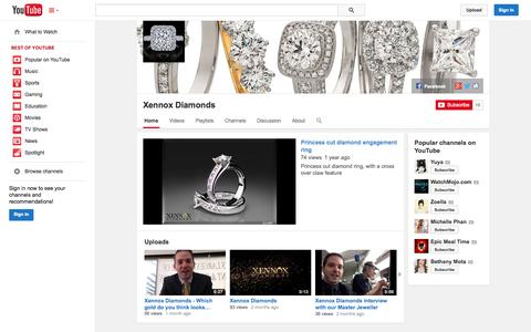 Screenshot of YouTube Page youtube.com - Xennox Diamonds  - YouTube - captured Oct. 27, 2014
