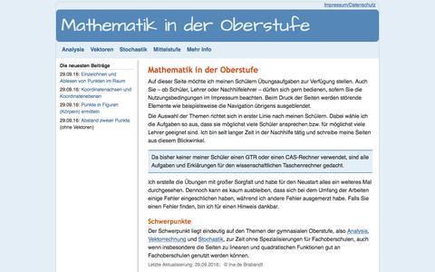 Screenshot of Home Page Site Map Page mathematik-oberstufe.de - Ina de Brabandt - Mathematik in der Oberstufe - captured April 26, 2018