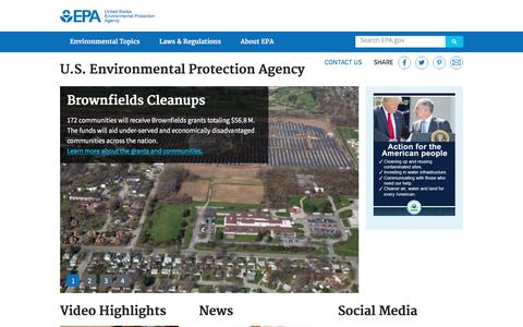Screenshot of Home Page epa.gov - United States Environmental Protection Agency   US EPA - captured June 20, 2017