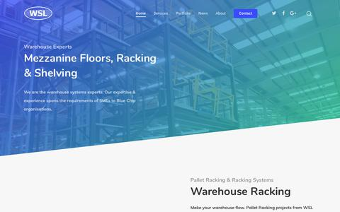 Screenshot of Home Page warehouse-systems.co.uk - The Mezzanine Floor, Pallet Racking & Warehouse Shelving Experts - Warehouse Systems - captured Oct. 20, 2018