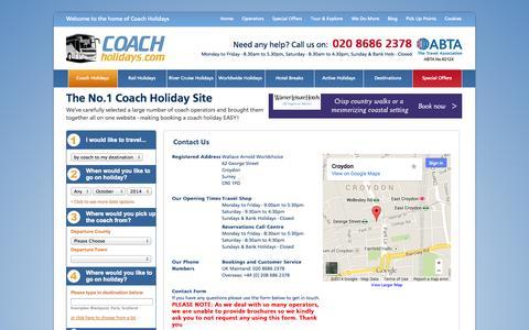 Screenshot of Contact Page coachholidays.com - Coach Holidays - Contact Us - captured Sept. 24, 2014