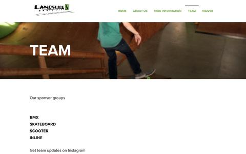 Screenshot of Team Page landslidesk8.com - Team – Landslide Skate Park LLC, Michigan - captured July 15, 2017