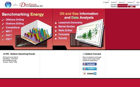 Screenshot of Login Page dodsondatasystems.com - IHS - Dodson Data Systems - Drilling and Completion Performance Analytics - captured Oct. 3, 2014