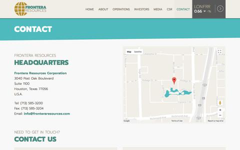 Screenshot of Contact Page fronteraresources.com - Contact | Frontera Resources Corporation - captured Oct. 14, 2017