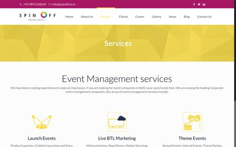 Screenshot of Services Page spinoff.co.in - Event Management Services | Event Companies in Delhi - captured Oct. 1, 2018