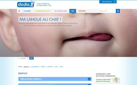 Screenshot of FAQ Page dodie.fr - Produits Dodie : vos questions, nos réponses - captured Sept. 30, 2014