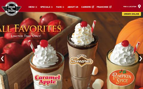 Screenshot of Home Page steaknshake.com - Steak n Shake | Steakburger & Hand Dipped Milkshakes - captured Sept. 21, 2018