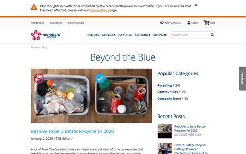 Screenshot of Blog republicservices.com - Beyond the Blue - Republic Services Official Blog | Republic Services - captured Jan. 13, 2020