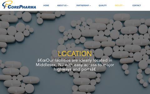 Screenshot of Locations Page corepharma.com - Core Pharma | Facility Locations - captured Sept. 29, 2018
