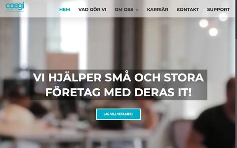Screenshot of Home Page coegi.se - Outsourca er IT med oss på Svenska COEGI i Göteborg - captured Oct. 11, 2018