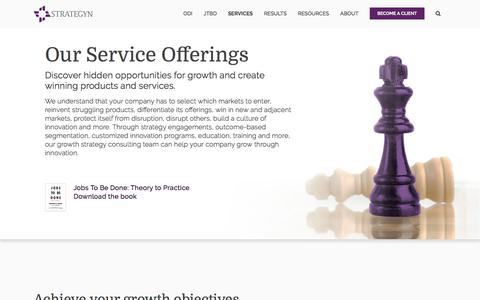 Screenshot of Services Page strategyn.com - Growth Strategy Consulting Firm | Services | Strategyn - captured Nov. 20, 2019