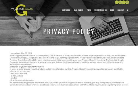 Screenshot of Privacy Page projectedgrowthconsulting.com - Privacy Policy - Projected Growth Consulting - captured July 13, 2018