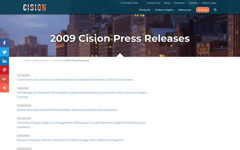 Screenshot of Press Page cision.com - 2009 Press Releases - Cision - captured April 1, 2018