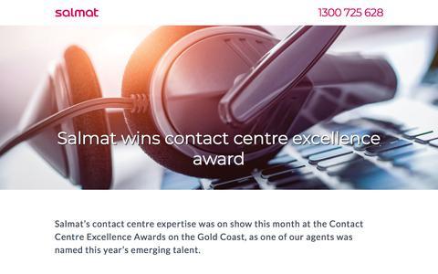 Screenshot of Landing Page salmat.com.au - Salmat - Contact Centre Awards - captured March 31, 2018
