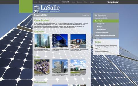 Screenshot of Case Studies Page lasalle.com - LaSalle Investment Management : Case Studies - Case Studies - captured Sept. 19, 2014