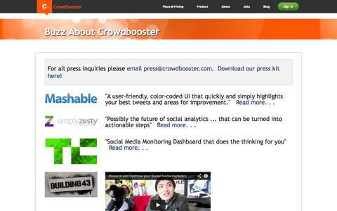 Screenshot of Press Page crowdbooster.com - Crowdbooster Press - captured Sept. 13, 2014
