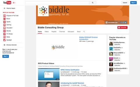 Screenshot of YouTube Page youtube.com - Biddle Consulting Group  - YouTube - captured Oct. 23, 2014