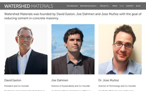 Screenshot of Team Page watershedmaterials.com - Watershed Materials - David Easton - Joe Dahmen - Jose Muñoz - captured Feb. 16, 2019
